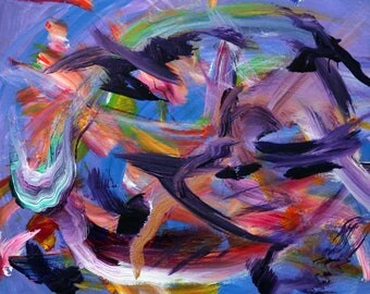 Blackbirds Circling, Acrylic on canvas painting by my horse, Rainbrandt