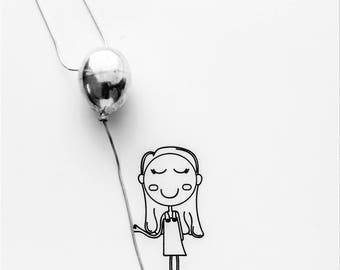 Small Balloon necklace, Small silver 3D balloon pendant, realistic balloon shaped charm