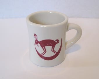 Vintage Pipestone Heavy Cup Mug Railroad Dining Car China Replica Jack Rabbit