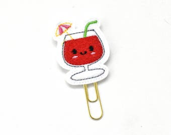 Kawaii Tropical Drink Felt Planner Clip / Bookmark