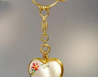 Vintage Gold Filled Sweetheart Locket Pendant Brooch