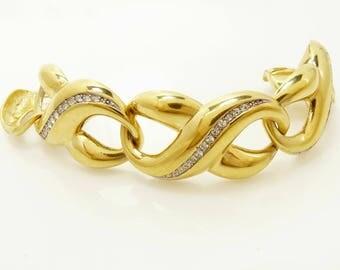 Vintage Givenchy Bracelet Chunky Link Gold & Rhinestone