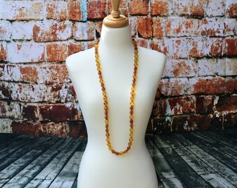 Extra-long Natural Baltic Amber and Yellow Amber Necklace with Thai Hill Tribe Silver, Amber Necklace, Adult Amber Necklace, Amber Jewelry