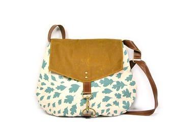 satchel • waxed canvas crossbody bag - leaf print • hand printed canvas - aqua blue leaf print - waxed canvas - fall fashion