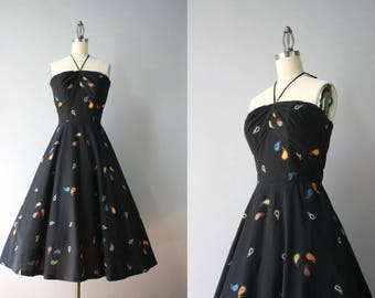 1950s Halter Dress / Vintage 50s Black Paisley Cotton Sundress / 50s Full Skirt Cotton Halter Dress S small