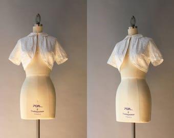 1950s Bolero Jacket / Vintage 50s White Cotton Eyelet Cropped Jacket / 50s Peter Pan Collar Summer Bolero Jacket S small