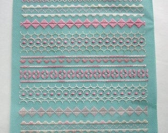 ON SALE- vintage cross stitch needlepoint sampler mint green and pink - not framed