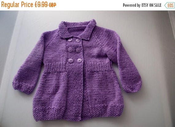 Christmas In July Handknitted Cardigan in Purple to fit 12 month old child