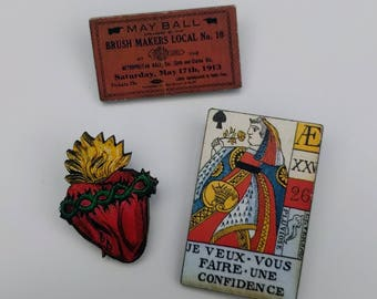 3 x Wooden Brooches - Ticket, Card, Heart (SET A7)