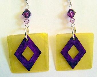 Swarovski Crystal and  Shell Earrings