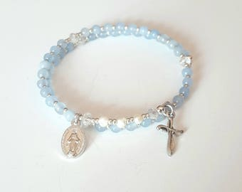 rosary bracelet| beaded wrap bracelet| mothers day gift mom gifts from daughter| religious gift| first communion gift| confirmation gift