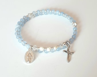 rosary wrap bracelet, beaded bracelet, mothers day gift mom gifts from daughter, religious gift, first communion gift, memory wire bracelet