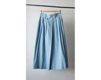 1980s High Waist Chambray Skirt