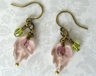 Pink Leaf Earrings, Pink and Green Dangle Earrings, Leaf Earrings with Plum and Green Dangles, Pale Pink Leaves, Pink Drops, Boho Jewelry