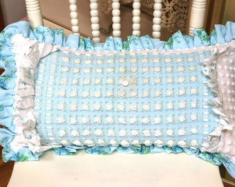 Vintage Morgan Jones Rosebud  Fabric, Rosebud pillow, Chenille Pillow, Vintage Chenille pillow, blue rosebud fabric, Vintage pillow