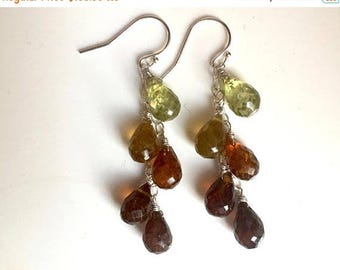 XMAS IN JULY 20% off, Glorious Garnet Cascade Drop Earrings - One Available