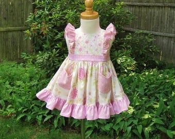 12 Mo Baby dress, Pink flowers, Ruffled shoulders, Ivory dress, Twirly dress, Ruffled skirt, Ready to ship, OOAK, Party, Birthdday, Wedding