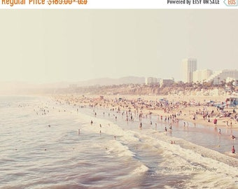 SALE Los Angeles photography, Santa Monica beach photo, pale icy blue foamy waves, summer west coast vacation, California seaside, La La Lan
