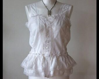 Romantic bustier, white lace camisole, lagenlook sleevless top, wedding camisole, prairie girl vest, festival bolero blouse, Couvert blouse