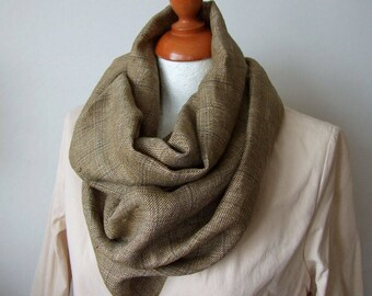Natural linen scarf, unisex loop scarf, infinity circle scarf, fall foliage scarf, gold khaki and gray plaid scarf, men's scarf, khaki cowl