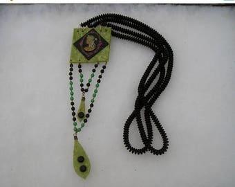 ON SALE Unique Egyptian Revival Cleopatra Celluloid Green Black Drop Necklace