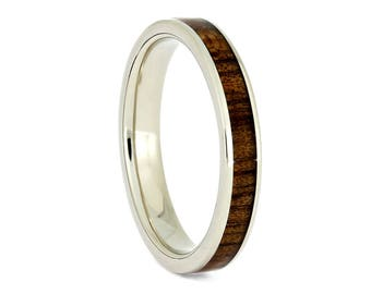 Koa Wood Wedding Band, 14k White Gold Ring, Gold Wedding Band For Her, Wooden Jewelry