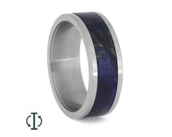 Interchangeable Blue Wood Ring, Titanium Adjustable Band With Blue Box Elder Burl Inlay, Unique Wood Ring