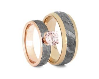 Rose Gold Meteorite Ring Set With Morganite, Matching Wedding Rings, Morganite Engagement, Space Rings