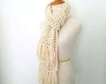 Chunky Scarf, Fringe Scarf, Knit Scarf, Traditional Scarf, Scarf for Women, Crochet Scarf, Ribbed Scarf, Textured Scarf, Handmade Scarf
