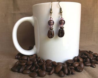 Coffee Bean Earrings - Planet Coffee - Authentic Coffee Bean Earrings...FREE U.S. SHIPPING