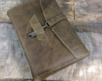 Olive Green Leather Sketchbook Journal with Skeleton Key
