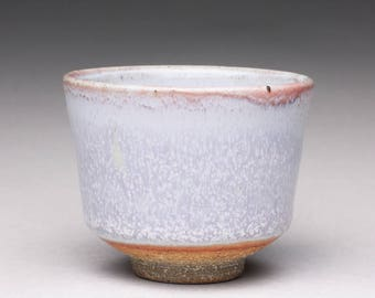 handmade pottery cup, ceramic tea cup, espresso cup with bluish white wood ash glaze