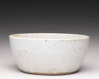 handmade pottery bowl, ceramic bowl, white stoneware bowl
