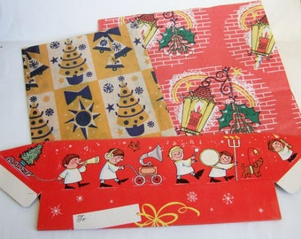 Vintage Christmas Gift Box and Wrapping Paper - Triangular Box and Two Half Sheets  1960s Xmas Gift Wrap