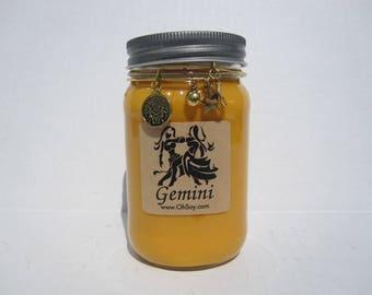 Gemini Zodiac Soy Mason Jar Candle w/Charm Bracelet - 16oz OhSoy! Mason Gemini Horoscope Soy Candle