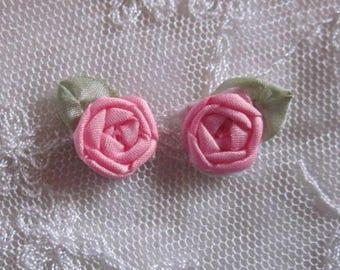 12 pc Set HANDMADE Soft Rose Pink Ribbon Rosette Spider Rose Flower Applique Antique Doll Dog Baby Hair Bow