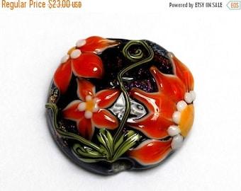 ON SALE 35% OFF New! 11838002 Clementine's Elegance Lentil Focal Bead - Handmade Glass Lampwork Bead