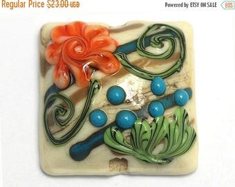 ON SALE 30% off Turquoise w/Brown Pillow Focal Bead - Handmade Glass Lampwork Beads 11809204
