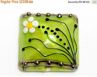 ON SALE 30% off NEW! Handmade Glass Lampwork Bead - 11838504 Spring Green Florals Pillow Focal Bead