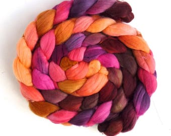 Rambouillet Wool Roving - Hand Painted Spinning or Felting Fiber, Sweet Lure
