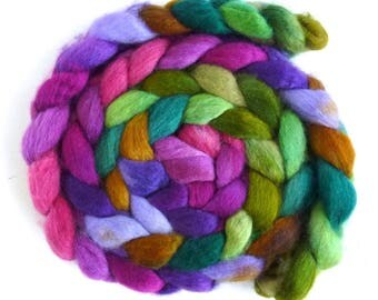 BFL Wool Roving - Hand Painted Spinning or Felting Fiber, Alice W.
