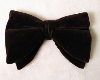 Vintage 60s Men's Chocolate Brown Velvet Bow Tie Bowtie