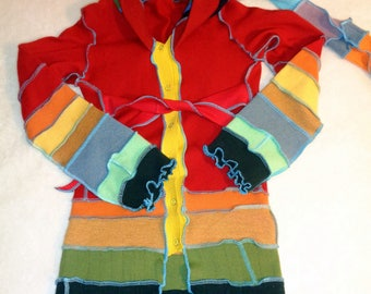 Rainbow hoodie dress cashmere and lambs for girl wool button up front sz 12  elvin hood long sleeves w thumb holes bright colors