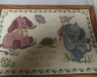 Herrschners Baby Elephants Birth Record Counted Cross Stitch Kit 050177 Sealed and Ready to Stitch