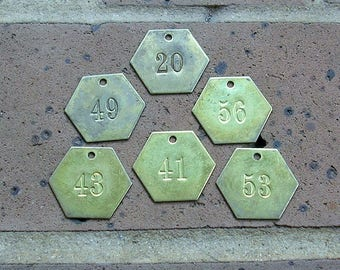 Vintage Brass Numbered Tag Number Tags Vintage Brass Tag Steampunk Jewelry DIY Jewelry