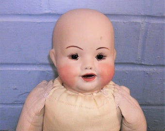 Vintage Doll With Cloth Body Bisque Head