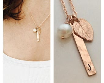 Personalized Initial Necklace - Bridesmaid Necklace - Rose Gold Initial Jewelry - Rose Gold Bar Necklace - Bridesmaid Gift - Leaf Necklace