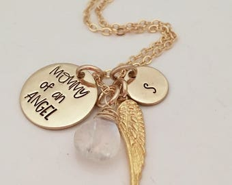 Mommy of an Angel - Memorial Necklace - Gold Miscarriage Jewelry - Grief gift - Infant Loss - Loss of a child