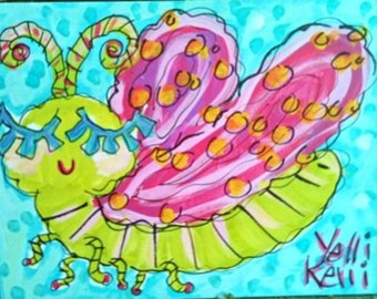Cute Butterfly Fun Canvas Painting Made to Order YelliKelli