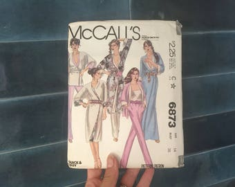 Vintage Sewing Patterns, 1970s McCalls Pattern L 14 70s Kaftan Pattern Open Robe pantsuit 80s fashion Size 14 sewing pattern 6873 McCalls 36